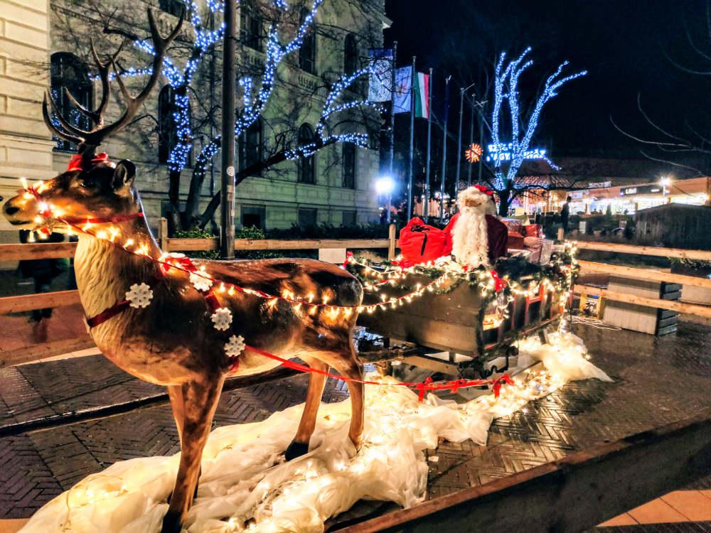 Božićna večernja atmosfera na trgu Dugonič u Segedinu, deda mraz na sankama koje vuče irvas